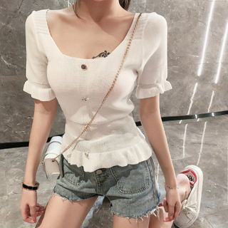 Image of Buttoned Ruffled Short-Sleeve Knit Top White - One Size