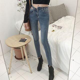 Image of Asymmetric Skinny Jeans