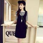 Set: Stripe Elbow-Sleeve T-Shirt + Pinafore Dress 1596
