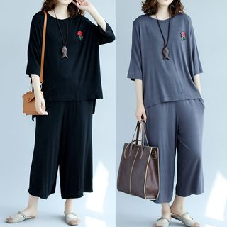 Set: Embroidered 3/4-Sleeve T-Shirt + Wide Leg Cropped Pants 1060627475