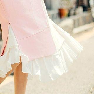Band-Waist Tiered Long Skirt 1049464903