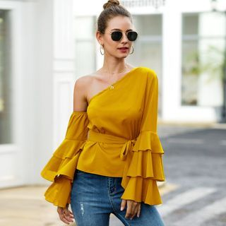 Image of One-Shoulder Ruffled Blouse