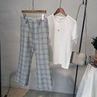 Plaid Boot-cut Pants 1596