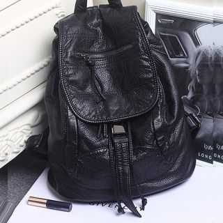 Genuine-Leather Flap Backpack