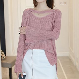 Ribbed Long-Sleeve Knit Sweater 1062543176