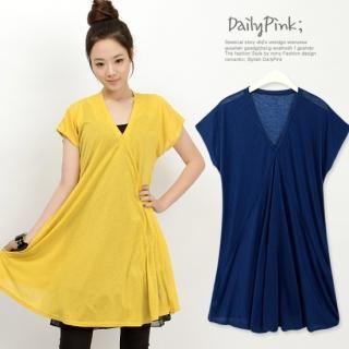 Buy Daily Pink V-Neck Shirred A-Line Dress 1022743580