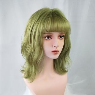 Medium | Green | Wavy | Neon | Full | Size | Wig | One