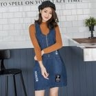 Zippered Denim Jumper Dress 1596