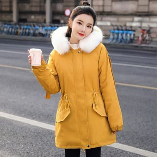 Faux Fur Trim Lettering Hooded Zip Jacket