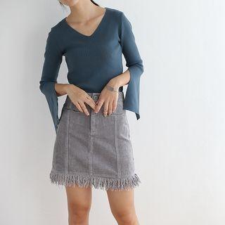 Slit-Sleeve V-Neck Knit Top 1055576924