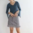 Slit-Sleeve V-Neck Knit Top 1596