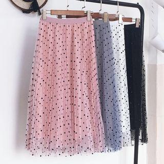 Image of Dotted Mesh Midi Skirt