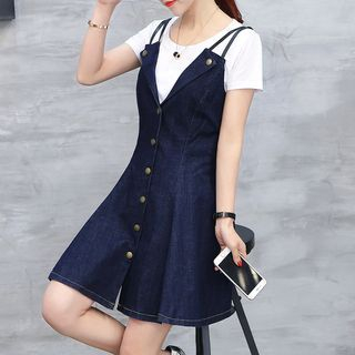 Set: Short-Sleeve Plain T-Shirt + Strappy Denim A-Line Dress 1059425757