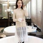 Set: Lace Long-Sleeve Dress + Sweater 1596