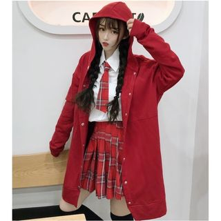 Image of Shirt With Plaid Tie / Mini Plaid A-Line Skirt / Hooded Button Long Jacket