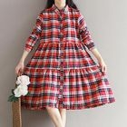 Long-Sleeve Plaid Midi Dress 1596