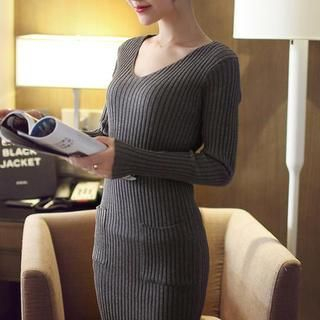 V-Neck Ribbed Knit Dress 1038256078