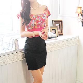Buy Shebon Floral Printed Layered Neckline Top 1022982457