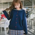 Heart Embroidered Collared Cardigan 1596