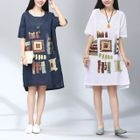 Printed Linen-blend Short-Sleeve Dress от YesStyle.com INT