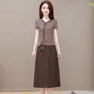 Image of Set: Short-Sleeve Striped Drawstring T-Shirt + Midi A-Line Skirt
