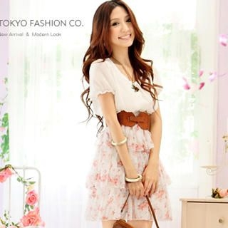 Buy Tokyo Fashion Short-Sleeve Floral Layered Chiffon Dress 1022860008