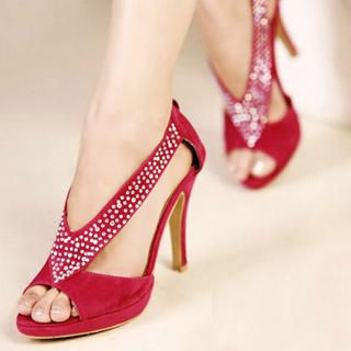 "Buy Kvoll Peep-Toe ""Rhinestone"" Sandals 1022979584"