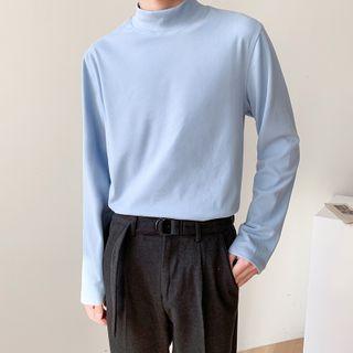 Long-sleeve Mock-neck T-shirt
