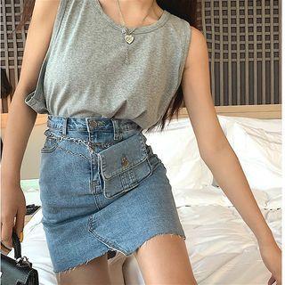 Image of Asymmetric Slim-Fit Denim Skirt
