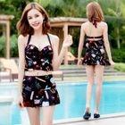 Set: Printed Halter Bikini + Swim Skirt 1596