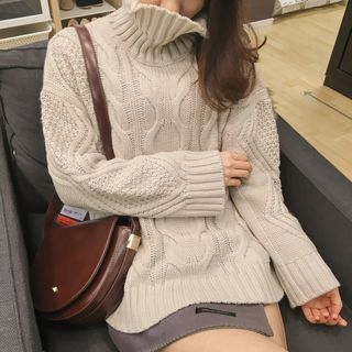 High Neck Rib Knit Sweater 1057179239