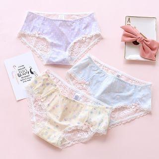 Lace Trim Patterned Panties 1061701206