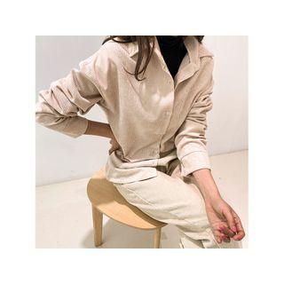 Boxy-fit Corduroy Shirt Beige - One Size