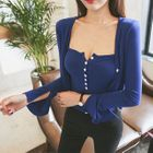 Set: Slit-Cuff Cardigan + Buttoned Tube Top 1596