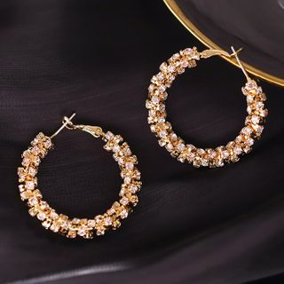 Rhinestone | Earring | Hoop | Gold | Size | One