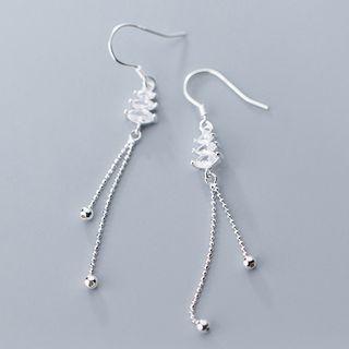 Bead Dangle 925 Sterling Silver Hook Earring 1 Pair - S925 Silver - Earring - One Size