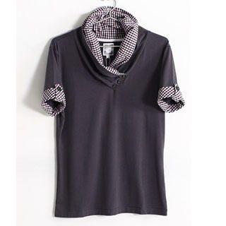 Picture of SERUSH Check Collar Short-Sleeve Tee 1022903173 (SERUSH, Mens Tees, Taiwan)