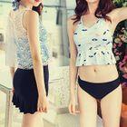 Set : Frilled 2-piece Swimsuit + Swim Skirt + Lace Tank Top 1596
