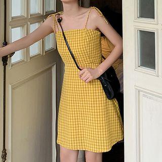 Spaghetti | Check | Strap | Dress