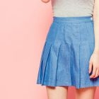 Denim Mini Pleat Skirt 1596