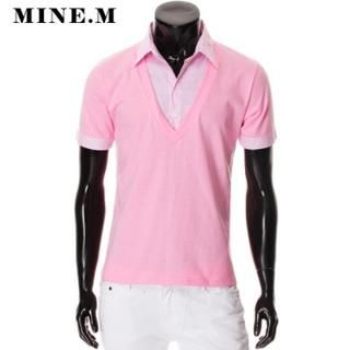 Buy MINE M HOMME Inset Striped Shirt V-Neck Tee 1022535906