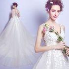 V-Neck Sleeveless Long Train Wedding Dress 1596
