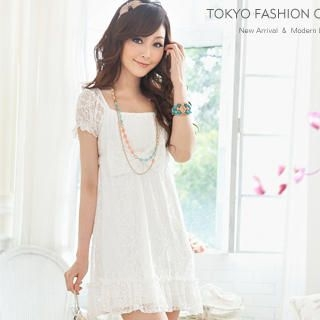 Buy Tokyo Fashion Short-Sleeve Empire Lace Dress 1022898093