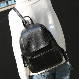 Flap Faux Leather Backpack