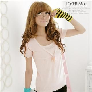 Picture of LOYER.mod Rhinestone Crewneck Tee Pink - One Size 1022793456 (LOYER.mod Tees, Womens Tees, China Tees, Causal Tops, Crew Neck Shirts)