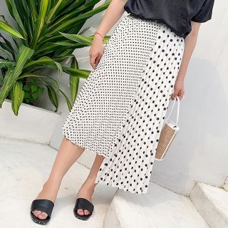 Image of Asymmetric Dotted Midi A-Line Skirt