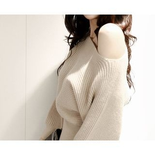Boat-Neck Ribbed Knit Dress 1054991055