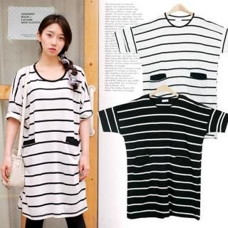 Buy MOUL STYLE Striped Drop-Shoulder T-Shirt Dress 1022873913