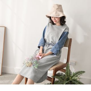 Image of 3/4 Sleeve Denim Panel Drawstring Waist Dress