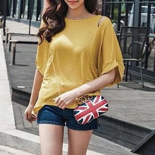 Short-Sleeve Cutout Top Yellow - One Size 1050578598